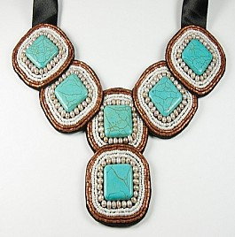 BIB – TURQUOISE AND PEARLS
