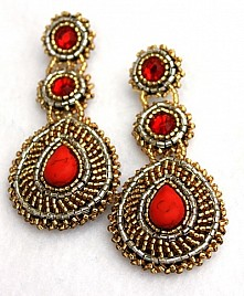 LEONORA EARRINGS – RED & GOLD