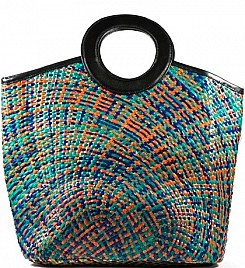 BLUE & ORANGE GARDEN PARTY TOTE
