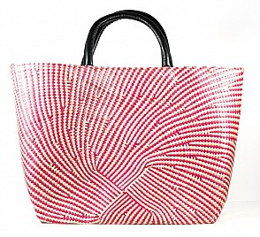NATURAL & RED LARGE TOTE