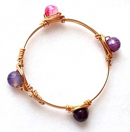 FOUR PENDANT BANGLE – PINK & PURPLE